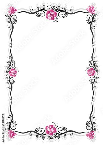 Rosen Ranke flora Blumen Rahmen schwarz pink