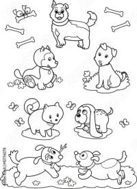"""""""Sette cani carini da colorare per bambini"""" Immagini e"""