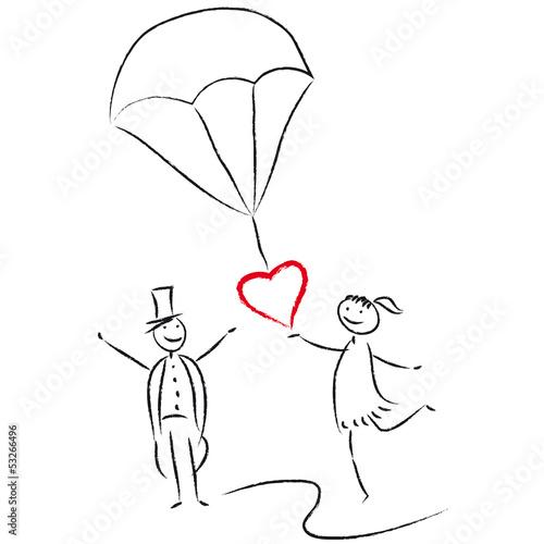 Hochzeitsreise Flitterwochen  verliebtes Brautpaar mit Fallschirm und Herz Stockfotos und