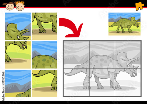 Cartoon Dinosaur Jigsaw Puzzle Game Stock Image And