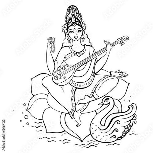 Sketch Of Goddess Saraswati