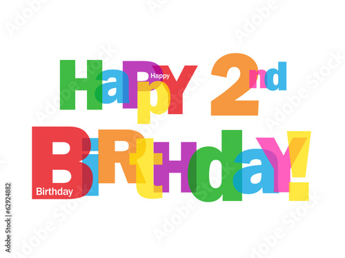 """""""""""HAPPY 2ND BIRTHDAY"""" CARD Second Two Years Old Party"""
