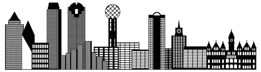Downtown Dallas Skyline Black And White