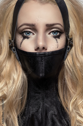 Portrait of blonde woman in BDSM neck collar Stock photo and royaltyfree images on Fotolia