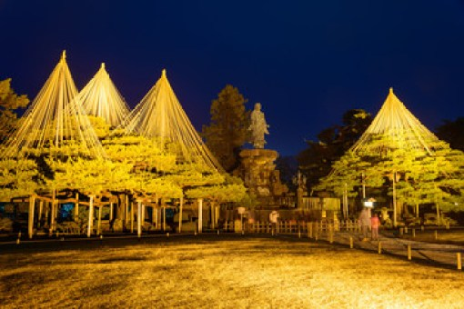 Kenrokuen Garden at night in Kanazawa, Japan
