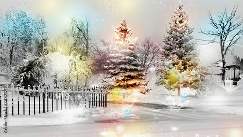 Paesaggio Invernale Innevato 3d Immagini e Fotografie