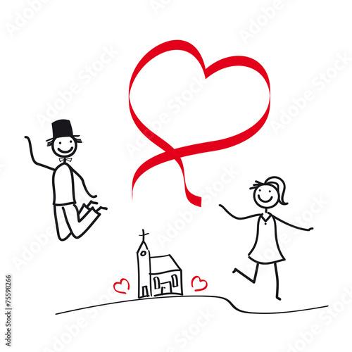Brautpaar  Paar mit Herz  Luftsprung vor Freude am Tag