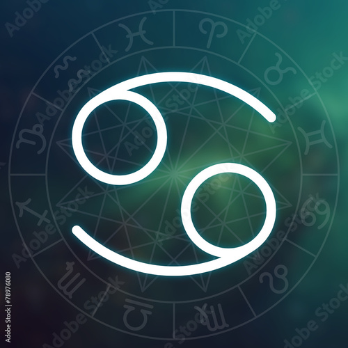 Zodiac sign - Cancer. White thin simple line astrological symbol