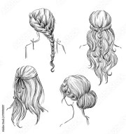 """set of hairstyles. hand"