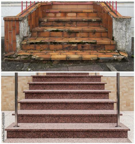 """""""renovierung Einer Außentreppe Vorher Nachher"""" Photo Libre"""