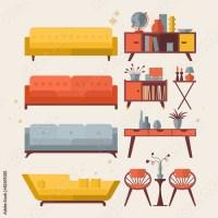 """Mid century furniture flat modern icons design"" Stock ..."