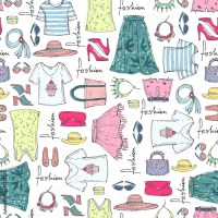"""""""Vector seamless pattern of hand drawn fashion collection ..."""
