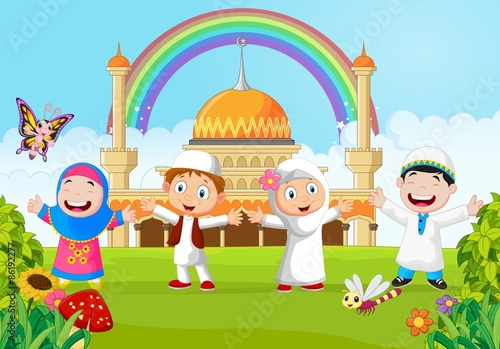 Cartoon happy kid muslim with rainbow  Stock image and
