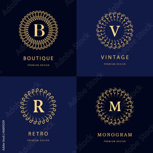 Monogram Design Elements Graceful Template Calligraphic