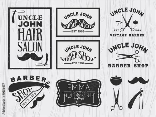 vintage monochrome barber shop logo labels badges banner emblem insignia poster and design element wall mural