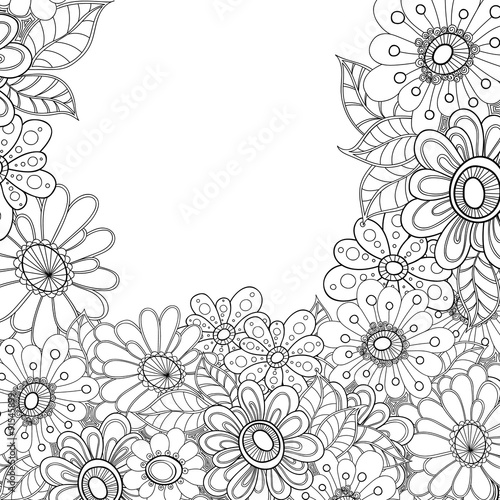 Zentangle Styled Flowers Decorative Border Doodle Art