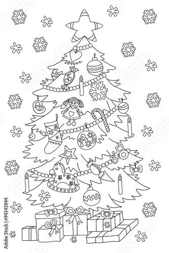 """Weihnachtsbaum (Malvorlage)"" Stock photo and royalty-free"