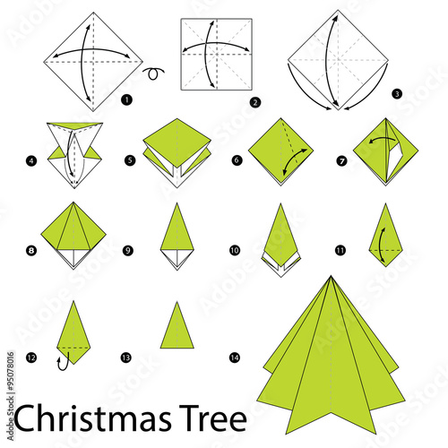 christmas origami diagram vw beetle wiring 1966 step by instructions how to make tree stock