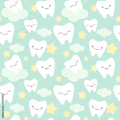 quotcartoon teeth cute colorful seamless vector pattern