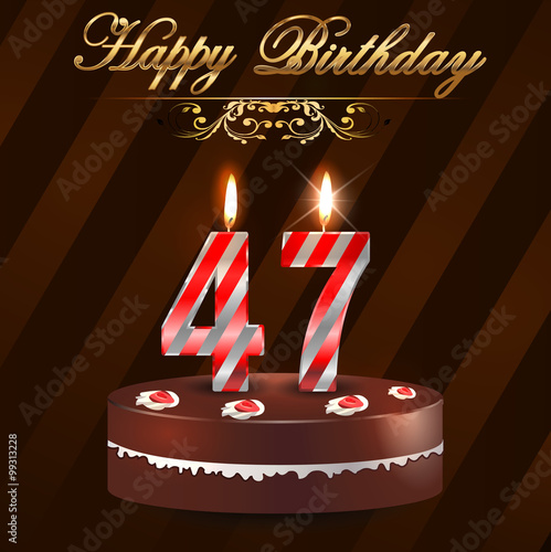 Quot 47 Year Happy Birthday Card With Cake And Candles 47th