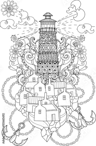 Hand Drawn Doodle Outline Lighthouse Decorated With