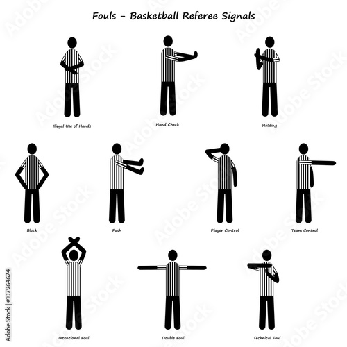 quotBasketball Ref Signals Foulsquot Stock photo and royalty