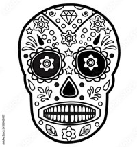 """Mexican skull vector for coloring, teschio messicano da ..."