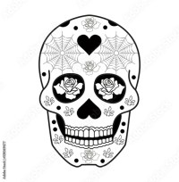 """Mexican skull vector for coloring, teschio messicano ..."