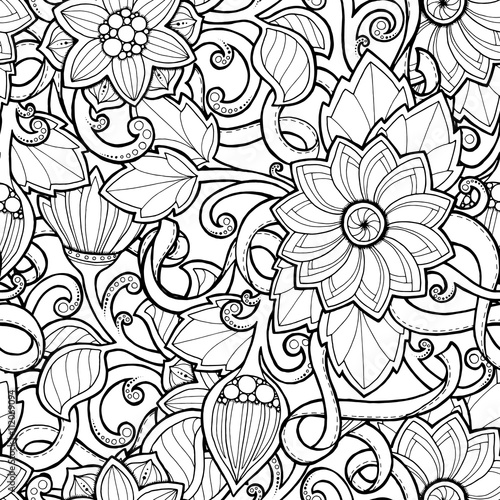 Doodle seamless background in vector with doodles