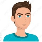 """young male cartoon with brown"