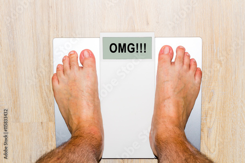 quotCloseup of man39s feet on weight scale with message OMG