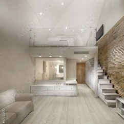 Open Plan Staircase In Living Room Rooms To Go View Of The All White With Exposed Brick Wall And