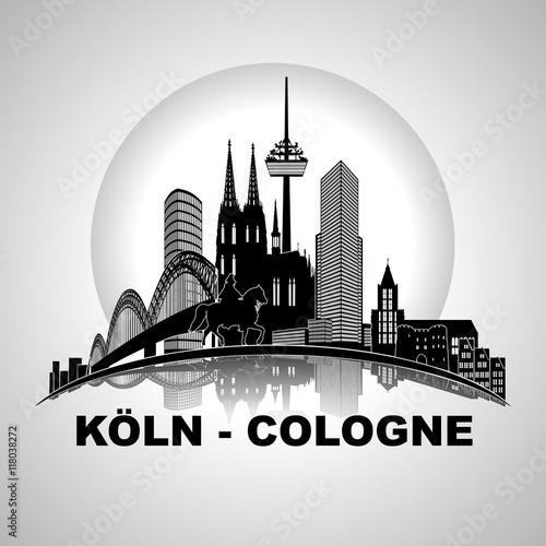 """Köln Panorama Skyline Wandtatoo Sehenswürdigkeiten Kölner"