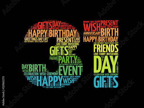 """Happy 31st Birthday Word Cloud Collage Concept"" Stock"
