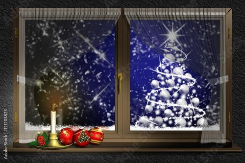 Finestra con decorazione natalizia Paesaggio invernale
