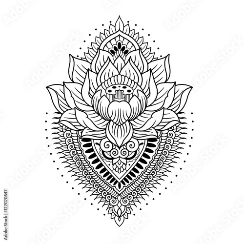 Lotus With Mandala Outlines Stock Image And Royalty Free