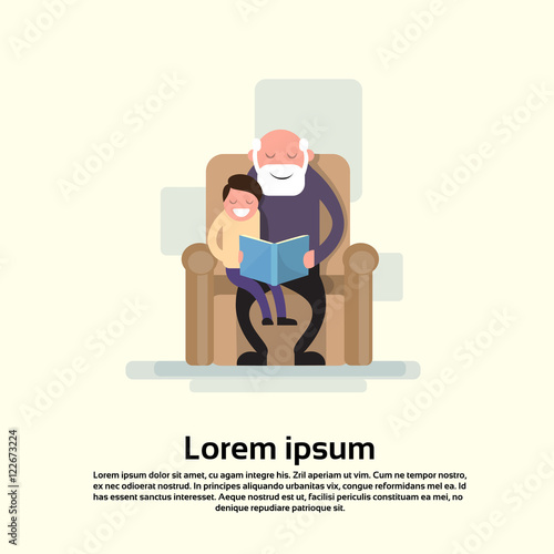 Grandfather Sit With Grandson In Armchair Read Book Small