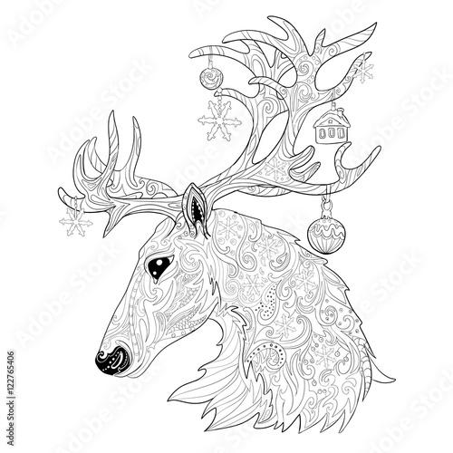 """christmas reindeer. hand drawn doodle illustration"