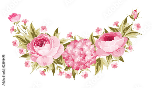 Template of invitation card Peony garland for holiday