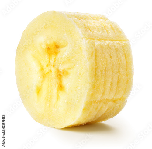 """banana slice isolated white"