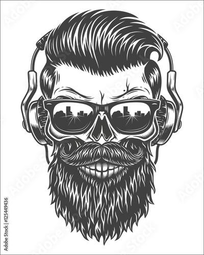 Monochrome Illustration Of Skull With Beard Mustache