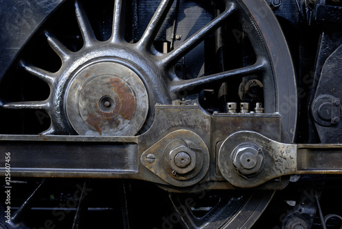 """""""Steam Locomotive Wheels And Rods Closeup. Detail Of"""