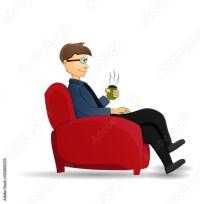 """cartoon businessman drink coffee sit on red chair ..."