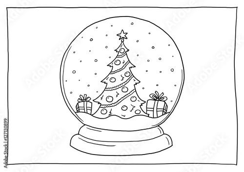 """""""Ausmalbild Schneekugel Weihnachten"""" Stockfotos und"""