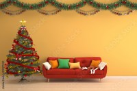 """Christmas background-christmas tree in yellow living room ..."