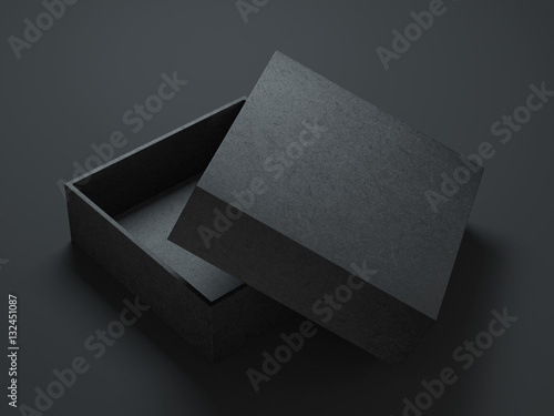 "Download ""Black Box Mockup with opened cover, 3d rendering"" Stock ..."