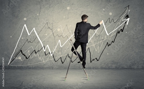 Quotman On Ladder Drawing Linesquot Zdjec Stockowych I Obrazow