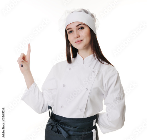 female chef presenting menu