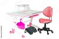 """Pink chair, pink school desk, pink basket, desk lamp and ..."