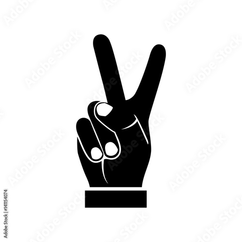 quotTwo fingers up black icon isolated on white background